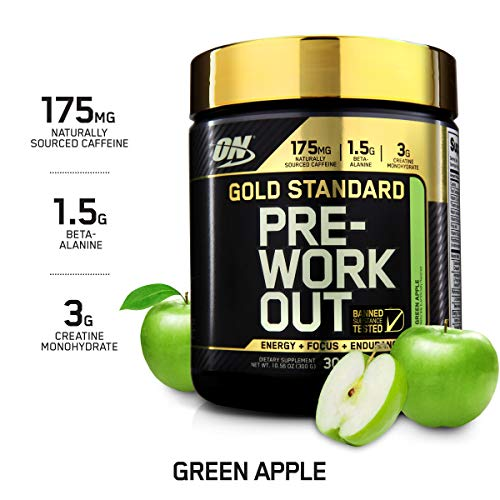 OPTIMUM NUTRITION GOLD STANDARD Pre Workout with Creatine, Beta-Alanine, and Caffeine for Energy, Keto Friendly, Green Apple, 30 Servings