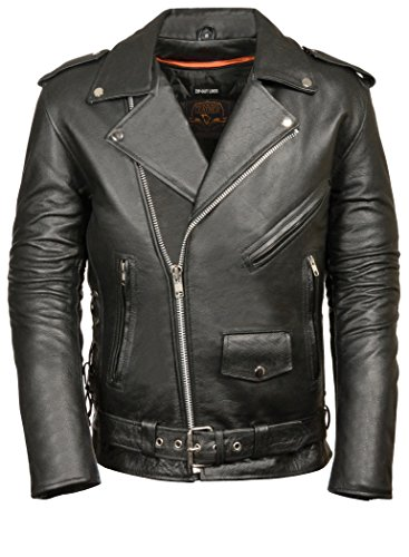 Milwaukee Men's Classic Side Lace Motorcycle Jacket (Black, Large-Tall)