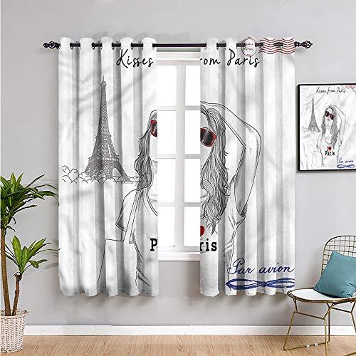 Cortinas opacas para sala de estar, 160 cm de largo, besos de París Tourism 2 juegos de paneles de 42 x 63 pulgadas