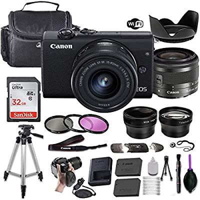 Canon EOS M200 Mirrorless Digital Camera (Black) w/EF-M 15-45mm f/3.5-6.3 is STM + Wide-Angle and Telephoto Lenses + Portable Tripod + Memory Card + Deluxe Accessory Bundle by Canon