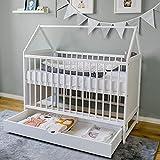 Babybett Beistellbett Kinderbett und Hausbett in einem - 120x60 weiß mit Schublade, höhenverstellbar und umbaubar