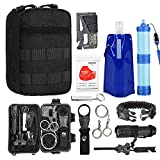 TOUROAM Emergency Survival Kit|Tactical Admin Pouch,Water Filter Straw,Foldable Water Bag,Mylar Blanket,5 In 1 Bracelet,SOS Multitools,Fire Starter