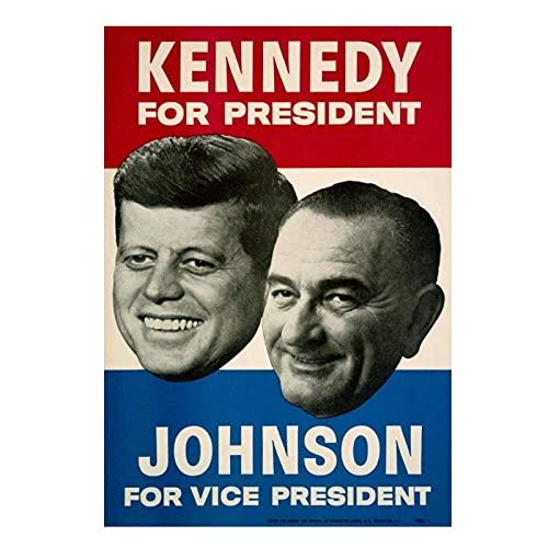 wzgsffs John F.Kennedy Lyndon Johnson 1960 Cartel De La Campaña E Impresiones Arte De La Pared Impresión En Lienzo Sala De Estar Dormitorio del Hogar-20X28 Inchx1 Sin Marco