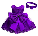 Baby Girl Pageant Frocks Lace Dresses Toddler Birthday Party Embroidery Easter Dress with Headwear (Dark Purple,3M)