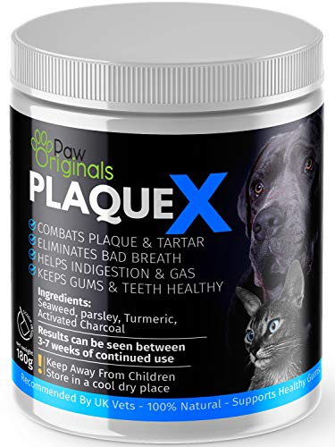 Plaque X 100% Natural Plaque Off & Tartar Remover For Dogs & Cats | Breath Freshener For Dogs, Cats & Pets | 180g | No Toothbrush & Supports Gum & Teeth Health