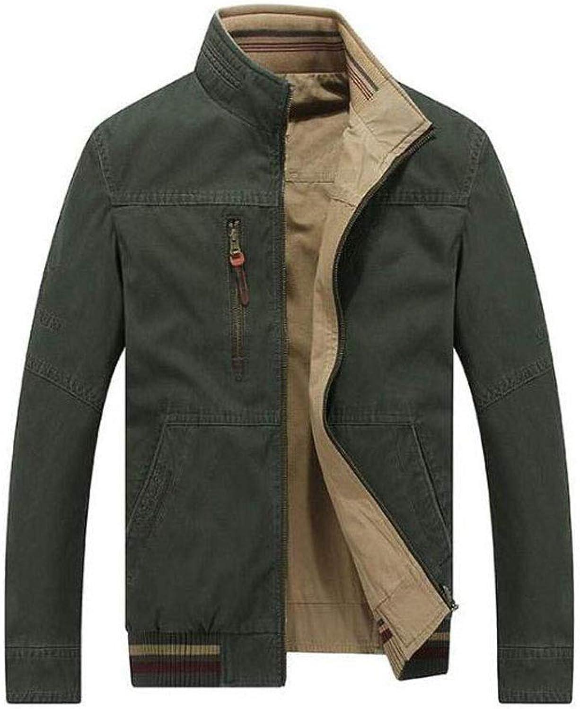 JBHURF Men's Casual Jacke Frühjahr und Herbst Neue Mode-Trend-Mantel Weich und Bequem Baumwolle Slinky Reiverschluss Balkenmantel Jacke Parka Mantel (Farbe   Grün, gre   S)
