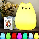 CHWARES Portable LED Children Night Light Kids Multicolor Silicone Cat Lamp, Warm White