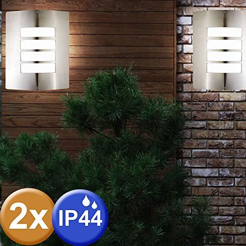 2er Set Außen Wand Leuchte Fassaden Lampe Grundstück Gartenhaus Beleuchtung IP44