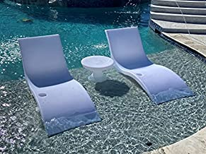Luxury Lounger in Water Pool Chaise Lounge for Ledge 2 Chairs with Hourglass Table