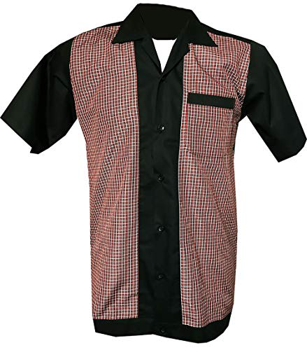 1950s / Sechzigerjahre Rockabilly, Bowling, Retro, Vintages Hemd der Männer (Groß)