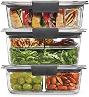 Rubbermaid Leak-Proof Brilliance Food Storage 12-Piece Plastic Containers with Lids | Bento Box Style Sandwich and Salad...