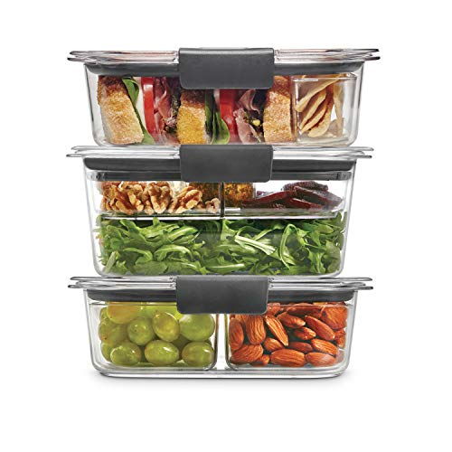 Rubbermaid LeakProof Brilliance Food Storage 12Piece Plastic Containers with Lids | Bento Box Style Sandwich and Salad Lunch Kit Clear