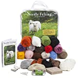 Premium Needle Felting Kit for Beginners, 20 Colors Wool, Pure Wool Felting Pad, 6 Needles Various Sizes, Leather Finger Guards, Storage Case starter kits May, 2021