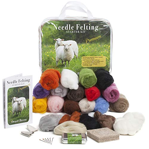Premium Needle Felting Kit for Beginners, 20 Colors Wool, Pure Wool Felting Pad, 6 Needles Various...