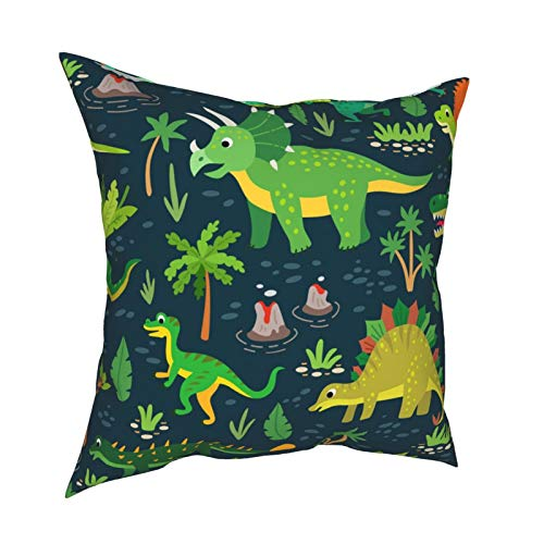 Throw Pillowcase Kissenbezüge 45x45CM Dinosaurier Karte Kinder Multicolor Tyrannosaurus Nette Dekoration für Home Decor Office Sofa Holiday Bar Kaffee Hochzeit Auto
