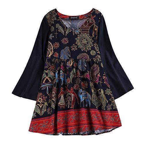 KEERADS Femmes T-Shirt Casual Nationalité Style Broderie Plus La Taille Lâche Col en V en Coton De Coton 3/4 Cloche Manches Longues Tops Shirt Blouse S-5XL(L5,Multicolore)