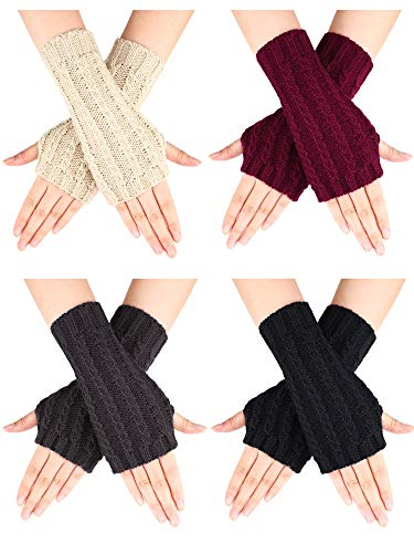 4 Pairs Knitted Fingerless Gloves Winter Short Arm Gloves Thumb Hole Gloves for Women Girls Favors (Color Set 1)