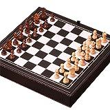 Internacional de ajedrez Juego de ajedrez de viaje magnético Juego de ajedrez de damas de ajedrez 3 en 1 for adultos, niños, juego de ajedrez portátil plegable Ajedrez juego de entretenimiento blanco
