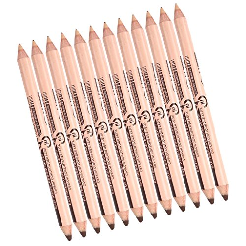 MagiDeal 12er Set Kosmetik 2 in 1 Make-up Bleistift Concealer & Augenbrauenstift Eyeliner Pen Doppel-Ende - #3: Braun + Hell Hautfarbe