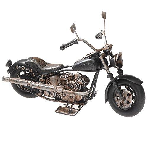 Pamer-Toys Modelo de moto de chapa de estilo retro antiguo, color negro