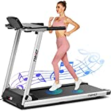 FUNMILY Treadmill,Treadmills for Home,Folding Electric Treadmill,Walking/Running Desk Portable Treadmill Machine for Exercises with Table & Bluetooth Speaker & Large LCD Monitor. (Silver)