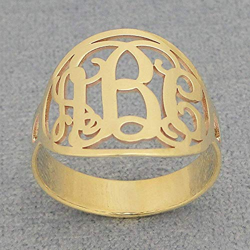 Oval Circle 3 Initial Monogram Ring Solid 14k Yellow Gold Personalized Custom Made Jewelry