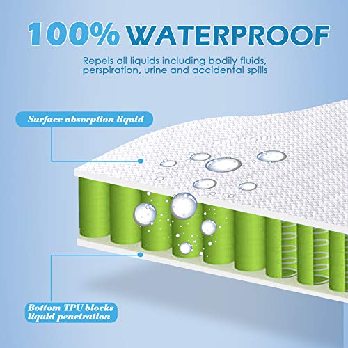 Queen Size Mattress Protector Cooling Bamboo Waterproof Mattress Protector Queen Size 3D Air Fabric Ultra Soft Breathable Mattress Protector Comfort & Protection Phthalate & Vinyl-Free