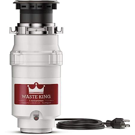 Residuos King l-1001Legend Series 1/2HP Continuous Feed Operation Garbage Disposer (con cable de alimentación)