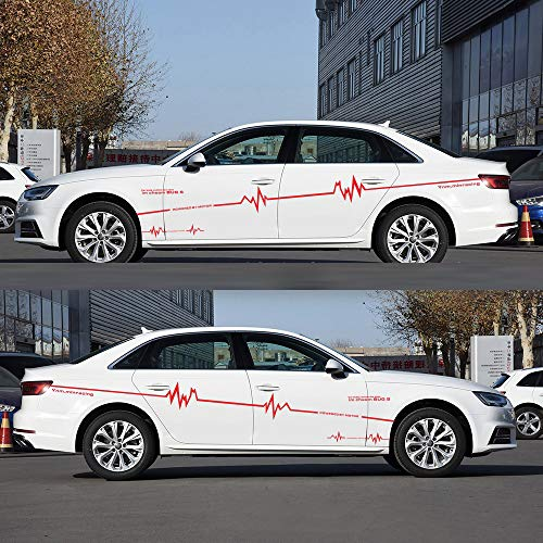 Tiras coche cuerpo pegatinas electrocardiográfica onda forma coche styling gráficos lado calcomanías