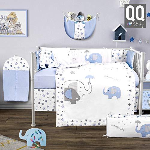 10 Piece Baby Crib Bedding Set 100% Cotton  Nursery Crib Bedding Sets for Boys  Elephant Design  by QQ Baby