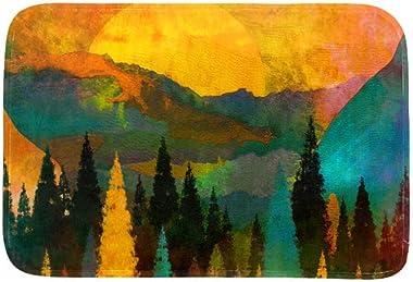 EGGDIOQ Doormats Trees Mountains Custom Print Bathroom Mat Waterproof Fabric Kitchen Entrance Rug, 23.6 x 15.7in