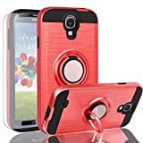AYMECL Galaxy S4 Case,Galaxy S4 Case with HD Screen Protector,360 Degree Rotating Ring Holder Dual Layer Full-Body Protective Cases Cover for Galaxy S4-ZR Red