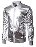JOGAL Men's Metallic Party Costume Varsity Bomber Jacket X-Large Silver