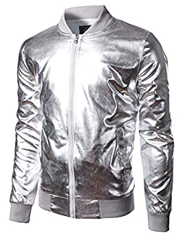 JOGAL Men s Metallic Party Costume Varsity Bomber Jacket X-Large Silver