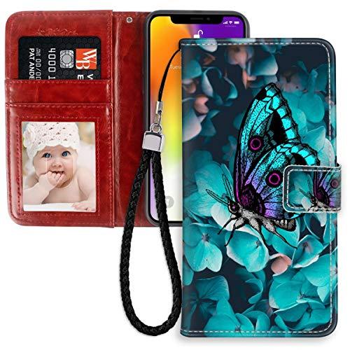 FAUNOW Funda tipo cartera para iPhone 11 Pro de 5,8 pulgadas, con tarjetero y tarjetero de piel sintética, con diseño de mariposa azul