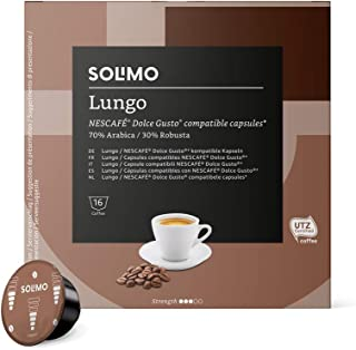Marca Amazon - Solimo - Dolce Gusto Lungo, café certificado UTZ, 96 cápsulas (6 x 16)