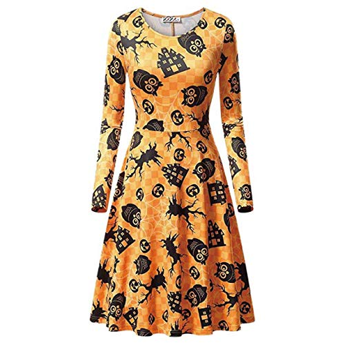 ERFD&GRF Halloween Party Kostüm Damen ärmelloses Spitzenkleid A Line Pumpkin Swing Dress, CY7770N, S