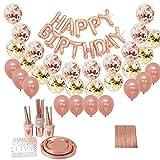 Beada Juego de globos de papel de aluminio de oro rosa con platos de papel, tazas de bebida, pajitas, decoración de fiesta de cumpleaños, suministros de baby shower