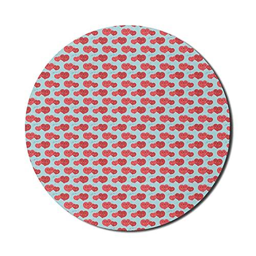 Hearts Mouse Pad für Computer, ich liebe dich Typografie mit Retro-Brille Hipster-Motive Rhythmischer Druck, rundes, rutschfestes, dickes, modernes Gaming-Mousepad aus Gummi, 8 'rund, dunkle Koralle u