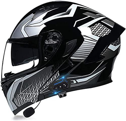 ZYQZYQ Casco de Bluetooth de la Motocicleta, Visor de Doble Sol Modular Tipo Doble Casco Completo, Casco Dot & ECETertificado, Contestación automática de Manos Libres (Color : 28, Size : L-59-60cm)