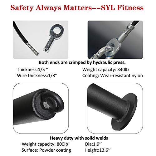 Product Image 4: SYL Fitness LAT Pulldown Cable Pulley System Adjustable Length with Chain Solid Loading Pin for DIY Home Garage Gym (Black: for Olympic Plates)