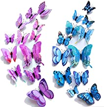 【Double Wings】 TERSELY 24 Pack Blue + Purple 3D Butterfly Wall Removable Sticker Decals, Home Decoration DIY Removable Man...
