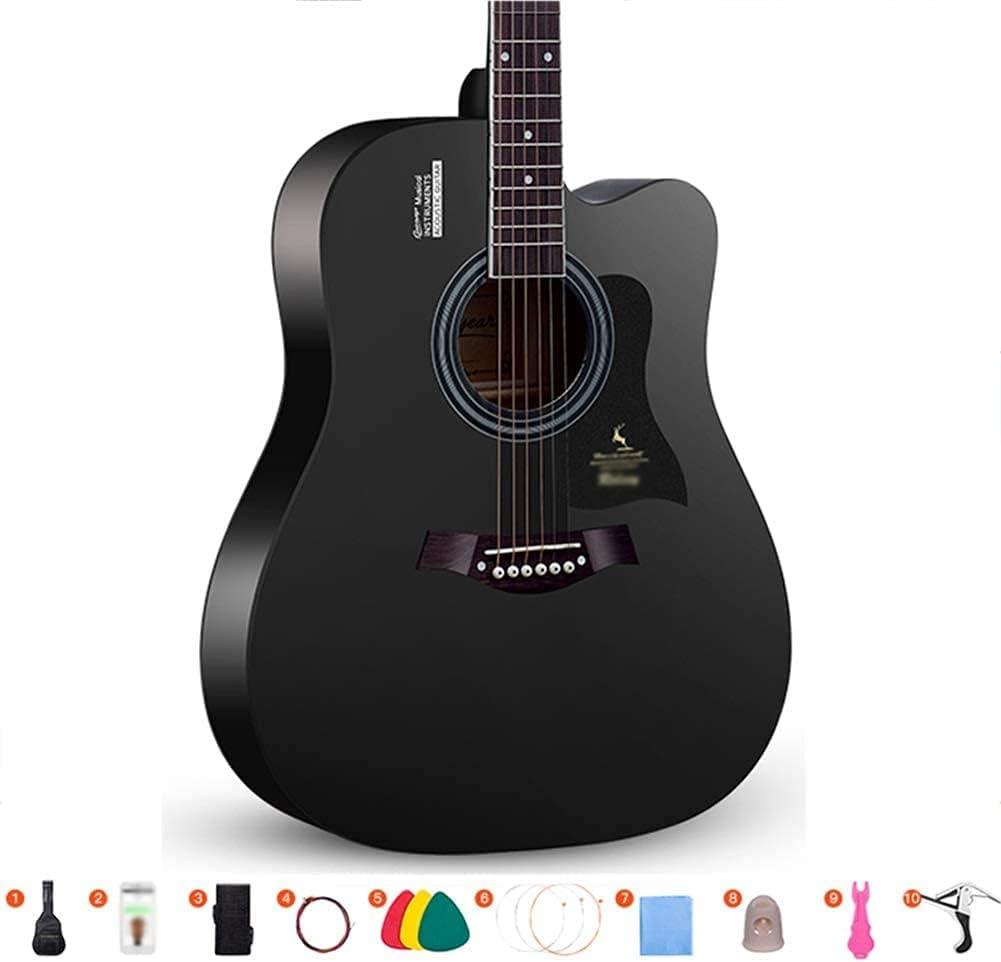 SLZFLSSHPK Guitarra acustica Guitarra Clasica Principiante 6 Cuerdas de Acero Cortadas Dreadnought portátil de Viaje Guitarra música acompañante Correa de Regalo Bolsa púa, 3 Colores(Color:Black;S