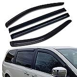 Lightronic WV94251 Tape-on Side Window Visor Deflector Rain Guard, Dark Smoke Shatterproof, 4 PCS Set for 2008-2018 Dodge Grand Caravan & for Chrysler Town & Country 2008-2016