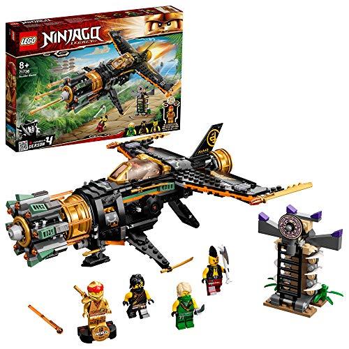 LEGO 71736 NINJAGO Coles Felsenbrecher Flugzeugspielzeug mit Gefängnis und sammelbarer Figur des Goldenen Ninja Kai