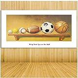 A&D Sport Fußball Fußball Basketball Baseball Dekoration Wandkunst Bild Himmelblau Leinwand Gemälde für Wohnzimmer -60x120cm Kein Rahmen