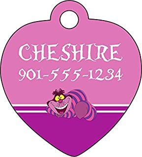 uDesignUSA Disney Alice in Wonderland Cheshire Cat Tag Pet Id Tag Personalized w/Your Pet's Name & Number