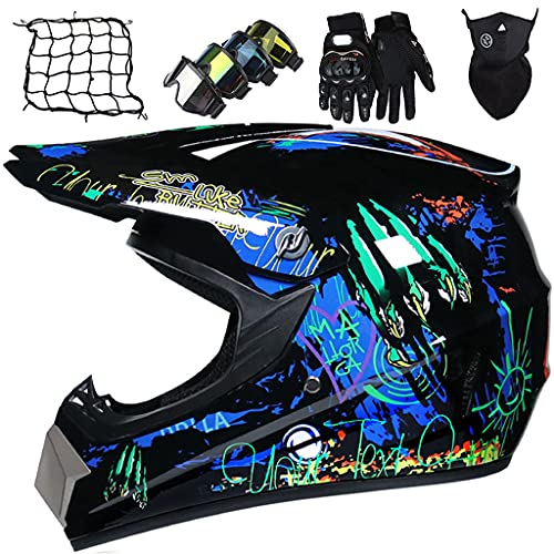 Cascos de Motocross Niños, Casco Integral de MTB, Casco de Motocicleta para Hombres y Mujeres, Certificación DOT/ECE con Gafas/Guantes/Máscaras/Red elástica, Azul Negro Brillante