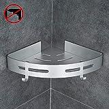 Gricol Bathroom Shower Caddy Adhesive Corner Shelf Storage No Drilling Wall Mounted Organizer Basket for Kitchen Toilet