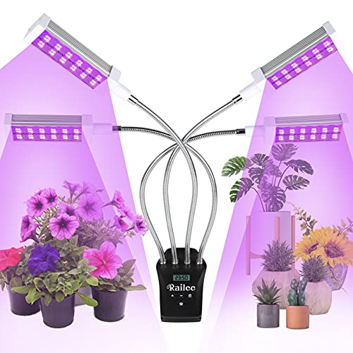 Railee Lampada per Piante, Lampada Piante Indoor 4 Teste Lampada da Coltivazione Spettro Completo con 192LEDs, Timer Automatico, Display LCD, Grow Light per Semina Crescita Fioritura e Fruttificazione